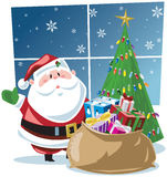Santa Claus With Sackful Of Gifts And Tree Stock Photos