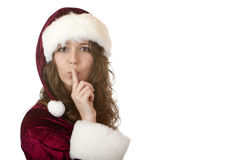 Santa Claus woman with Christmas fur Stock Images