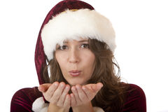 Santa Claus Woman with Christmas fur blowing Stock Images