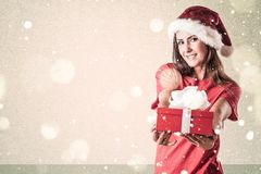 Santa Claus Woman. With Gift Stock Photo