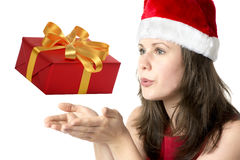 Santa Claus Woman with gift Royalty Free Stock Photos