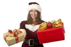 Santa Claus Woman Holding Christmas Gifts In Hands Royalty Free Stock Photos