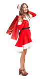 Santa Claus woman holding shopping bags Stock Photo