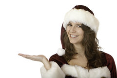 Santa Claus woman holds hand for Christmas present Royalty Free Stock Photography