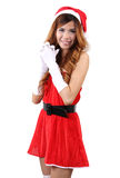 Santa claus woman. Image of asian woman wearing santa claus clothes and red hat  on white background Royalty Free Stock Images