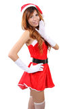Santa claus woman. Image of asian woman wearing santa claus clothes and red hat  on white background Royalty Free Stock Photography