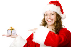 Santa Claus woman pointing on Christmas gift box Stock Photo