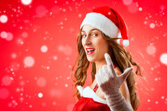 Santa Claus woman wanting Royalty Free Stock Image