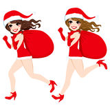 Santa Claus Women Running Stock Photo