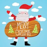 Santa Claus with wood table. Christmas background Royalty Free Stock Photos