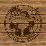 Santa Claus on a wooden boards Royalty Free Stock Photography