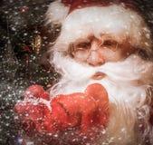 Santa Claus in wooden home interior Royalty Free Stock Photos
