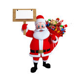 Santa Claus with wooden sign board Royalty Free Stock Photography