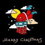 Santa Claus wordt geplakt met stelt in de schoorsteen die voor De prentbriefkaar van Kerstmis Stock Fotografie
