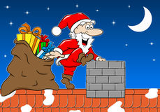 Santa claus at work on a roof Royalty Free Stock Photo
