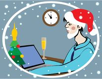 Santa Claus in Office. Santa Claus works in the office. There is a table, laptop, Christmas tree and a glass of alcoholic beverage. At the wall clock five Royalty Free Stock Photo