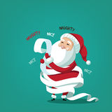 Santa Claus wrapped in his naughty and nice list Stock Photography