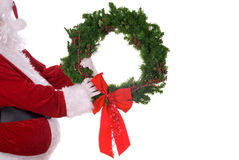Santa Claus with wreath Stock Photography
