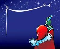 Santa Claus writes greeting on sky, Christmas card Stock Image