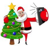 Santa Claus xmas drzewny selfie odizolowywający ilustracji