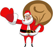 Santa Claus Xmas Sack Greeting Isolated Royalty Free Stock Photo