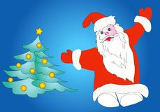 Santa Claus with Xmas tree Royalty Free Stock Image