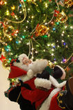 Santa Claus and xmas tree Stock Images