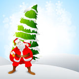 Santa Claus and Xmas Tree for Merry Christmas. Royalty Free Stock Photo