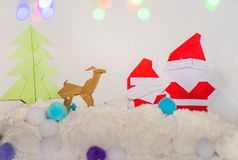 Santa claus,xmas tree and reindeer christmas paper craft Royalty Free Stock Photography