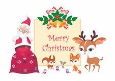 Santa Claus y animales ilustración del vector