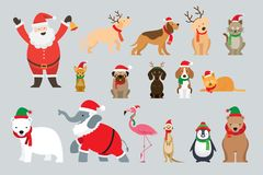 Santa Claus y animales que llevan el traje de la Navidad imagen de archivo