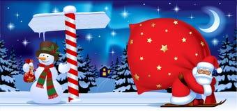 Santa Claus y el muñeco de nieve con un Año Nuevo firman adentro el wi de la noche libre illustration