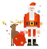 Santa Claus y los ciervos, dibujados en un estilo plano de la historieta Ejemplo de un carácter de San Nicolás con un bolso de re ilustración del vector