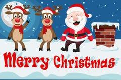 Santa Claus y los ciervos se sientan en el tejado al lado de la chimenea stock de ilustración
