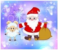 Santa Claus y ovejas fabulosas, personal, y bolso del regalo Imagen de archivo