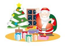 Santa Claus y porciones de presentes stock de ilustración