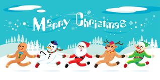 Santa Claus y sus amigos está celebrando la Navidad stock de ilustración