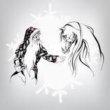Santa Claus y un caballo blanco Imágenes de archivo libres de regalías