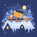 Santa Claus in a yellow tipper truck on a rooftop unloading coal Stock Photo