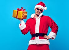 Santa Claus.Young Happy Santa Man, Christmas Gifts royalty free stock photography