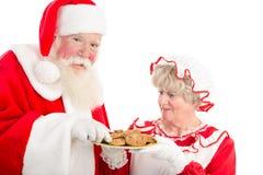 Santa Claus z talerzem ciastka i Mrs Zdjęcie Royalty Free