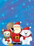 Santa Claus z workiem pełno teraźniejszość szczęśliwy bałwan i niedźwiedź polarny - bożego narodzenia desi - prezenty - ilustracji