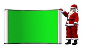 Santa Claus z zielonym bilboard Fotografia Stock