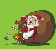 Santa Claus-zak van giften Stock Illustratie