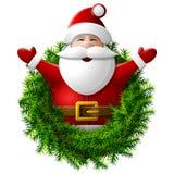 Santa Claus zur Taille mit seinen Händen oben Stockfoto
