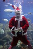 Santa Clause. Underwater Santa Clause (note: image is slightly grainy due to low light condition royalty free stock images