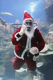 Santa Clause. Underwater Santa Clause (note: image is slightly grainy due to low light condition stock photos