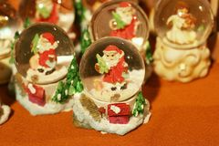 Santa Clause. In glass sphere with selective focus Royalty Free Stock Image