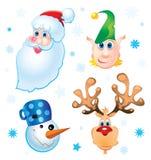 Santa Clause. Rudolph, Elf and Snowman stock illustration