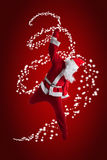 Santa Clause. Dancer Red background stock photography